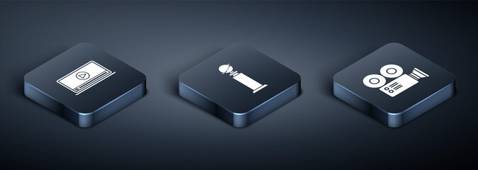Set Isometric Online play video , Cinema camera  and Trophy Golden Globe  icon. Vector