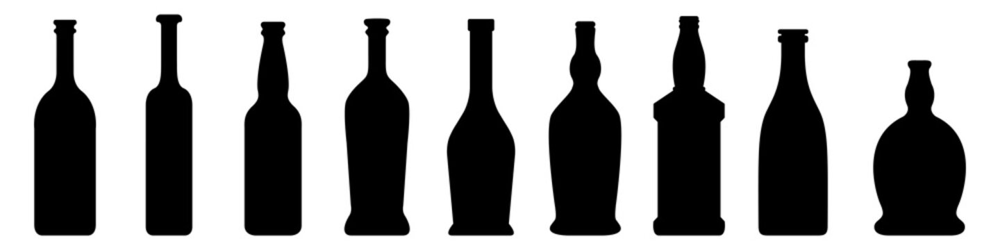 Vector Set of Glass Bottle Silhouette