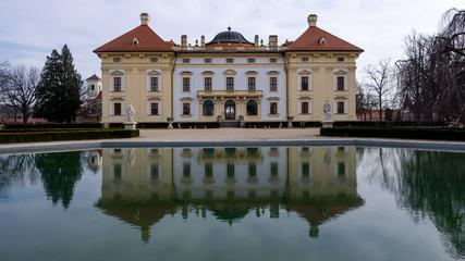 Slavkov Castle, Austerlitz and its lagoon mirror reflection
