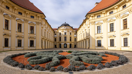 Slavkov Castle, Austerlitz courtyard, view from behind a flower bed