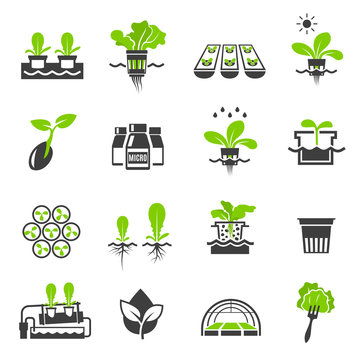 Collection of flat icons - hydroponic gardening systems