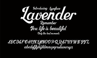 Hand drawn alphabet vector font. Brush script lettering for labels, headlines, posters etc.