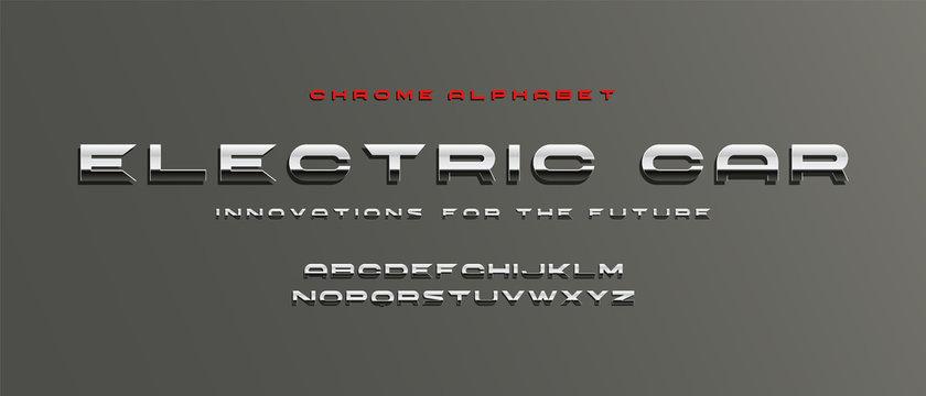 'Electric car' Vector metallic font for banner Auto Salon, technology, sport, etc., Silver Alphabet. Vector illustration.