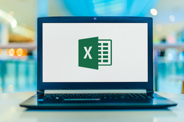 Laptop computer displaying logo of Microsoft Excel