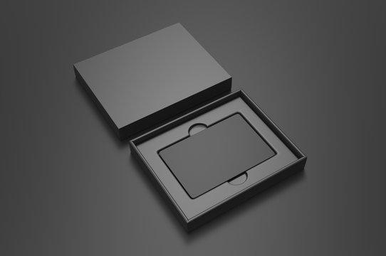 Blank gift card hard box for branding, 3d render illustration.