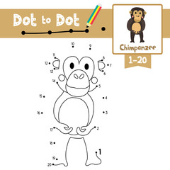 Dot to dot educational game and Coloring book Chimpanzee animal cartoon character vector illustration