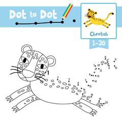 Dot to dot educational game and Coloring book Jumping Cheetah animal cartoon character vector illustration