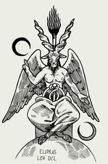 Baphomet demon. Satan goat. Occult symbol from the tarot cards realistic vintage vector illustration.