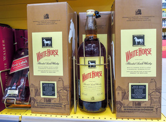 White Horse whiskey in the big bottle ready for sale