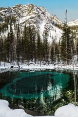 Turquoise thermal lake in Ulagan district near the village of Aktash, Altai Republic, Russia