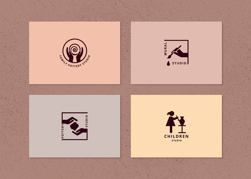 Vector layout of business card with logo for art studio, pottery or ceramic studio