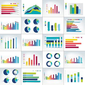 Mega set of charst, graphs. Infographics business elements.