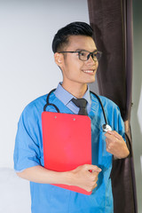 male nurse, people, prescription, profession, hold, worker, closeup, doc, paperwork, nurse, hospital, standing, studio, occupation, young, happy, guy, professional, smile, expression, confidence, chee