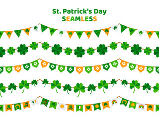 St. Patrick's Day bunting set isolated on white background. Pub party decorations, seamless borders. Eat, Drink and Be Irish