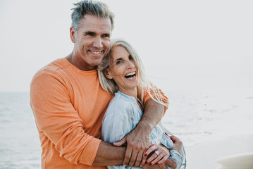 Fototapeta happy senior couple spending time at the beach. Concepts about love,seniority and people