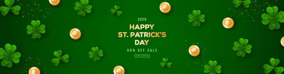 Saint Patrick's Day horizontal banner with clover leaves and golden coins on green background. Place for text. Vector illustration.