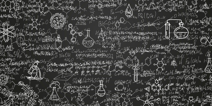 Chemical formulas on a black background .School writing board .Scientific research - vector .