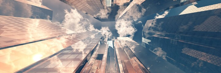Beautiful skyscrapers against the sky, modern high-rise buildings bottom view, 3D rendering Fotobehang
