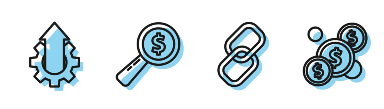 Set line Chain link, Arrow growth gear business, Magnifying glass and dollar and Coin money with dollar icon. Vector