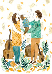 Violinist and contrabassist and their daughter