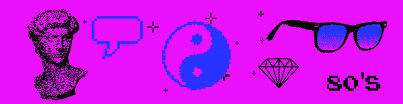 Set of different stickers: Yin and yang symbol, diamond, speech bubble and David bust in pixel art 8-bit stylization. Vaporwave and webpunk style illustration for fashion prints, badges and pins.