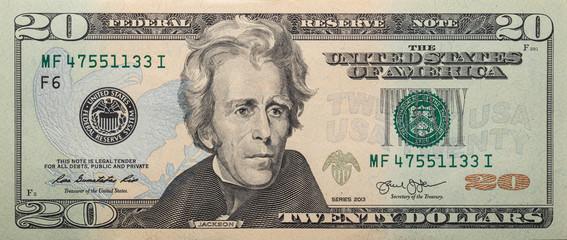 Closeup of front side of 20 dollar banknote Fotobehang