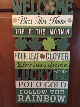 Irish, Big St. Patricks Day Sign 4 leaf clover Blarney Stone Luck of the Irish