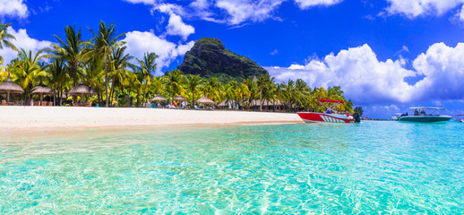 Best beaches of Mauritius island - Le Morne. Tropical paradise scenery