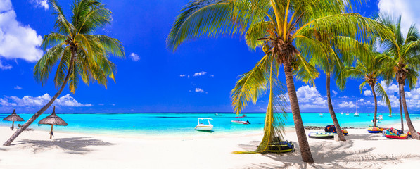 Tropical beach scenery . vacation in paradise island Mauritius, Le Morne