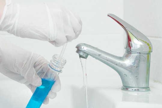 Tap water analysis quality control concept. Water test.
