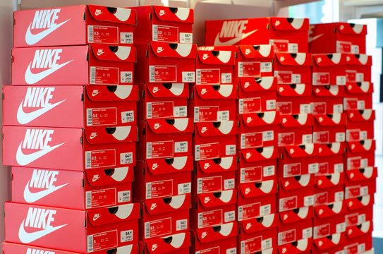 Soest, Germany - July 29, 2019: Nike shoe box in the store