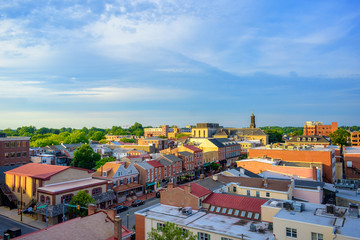 panorama of suburban area and aerial view with sunny blue sky in Summer West Chester , USA Fotomurales