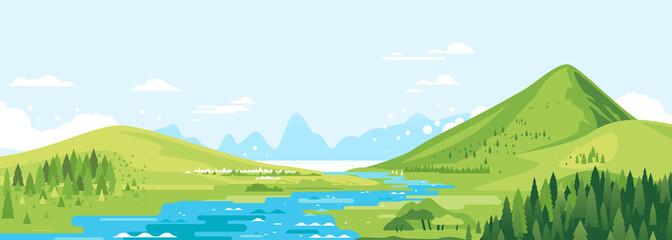 Green mountains in sunny day with river in valley and spruce forest in simple geometric form, nature tourism landscape background, travel mountains adventure illustration Fotomurales