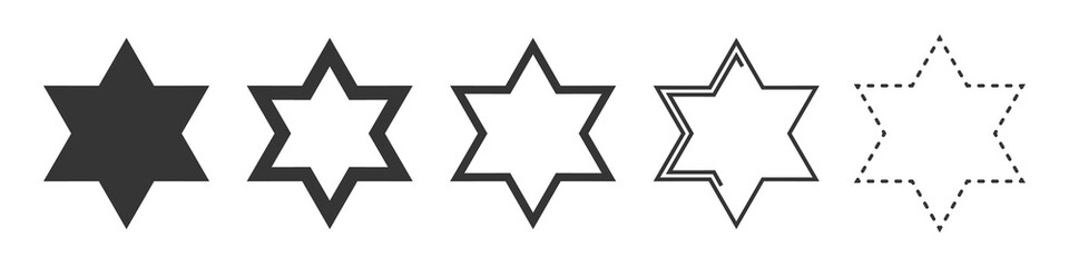 Star of David vector icon. Set of religion stars