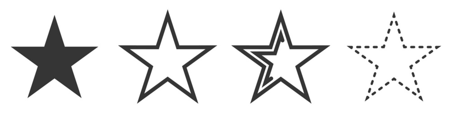 Star vector icons. Set of star symbols isolated.