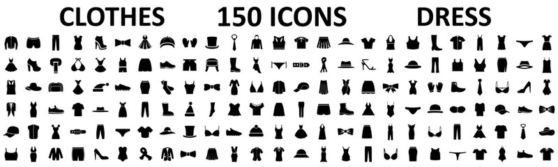 Clothes 150 icon set. Woman and man clothes and accessories collection, fashion wardrobe, dress isolated silhouettes of men and women clothing – stock vector Wall mural