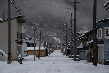 Aluminium Prints Dark grey Beautiful winter landscape in japan, winter travel concept.