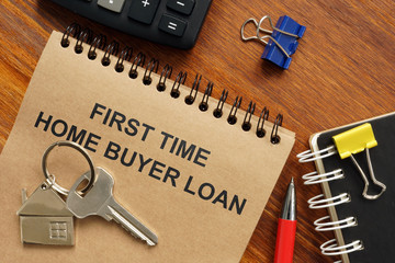 Text sign showing hand written words first time home buyer loan