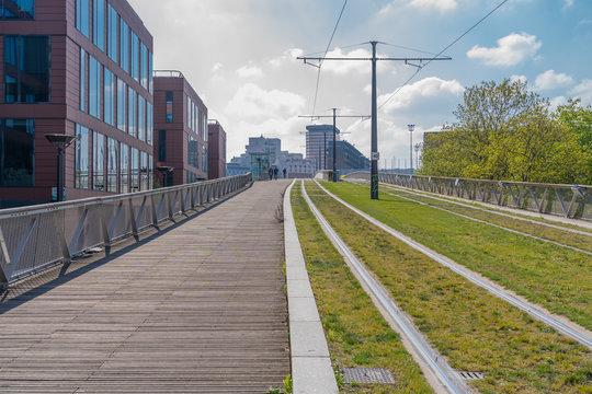 Paris, France - 04 14 2019: Canal Lourcq. Ella Fitzgerald footbridge