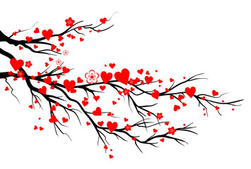 Spring blooming red hearts branch