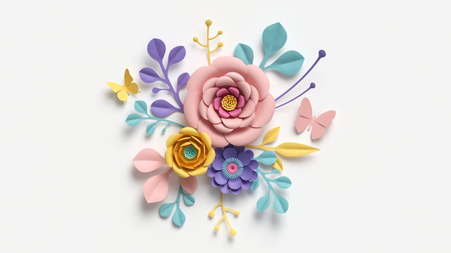 3d render, abstract cut paper flowers isolated on white, botanical background, festive floral arrangement. Rose, daisy, dahlia, butterfly and leaves in pastel color palette. Simple modern wall decor