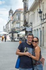 couple on vacation in Galicia, Tui, Spain