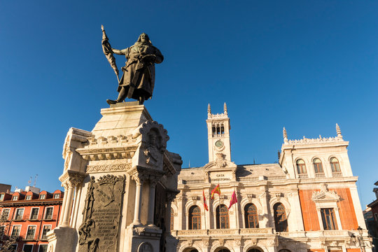 Valladolid, Spain. The monument to Count Pedro Ansurez in front of the Casa consistorial (City Hall)