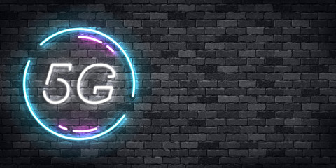 Vector realistic isolated neon sign of 5G flyer logo for template decoration and wallpaper covering on the wall background. Concept of network technology.