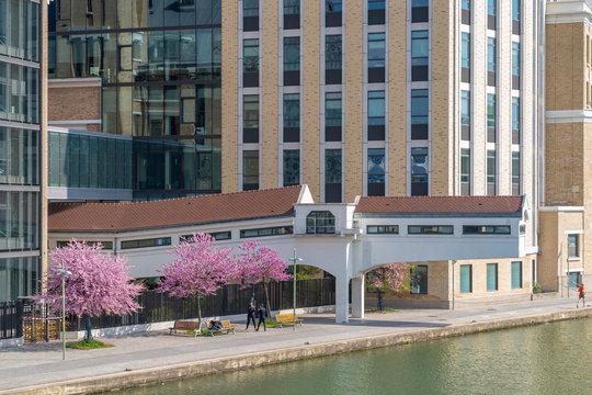 Paris, France - 04 14 2019: Canal Lourcq. Great Pantin Mills