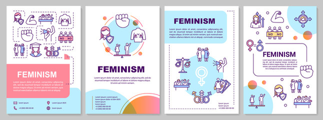 Feminism brochure template. Women rights, gender equality movement. Flyer, booklet, leaflet print, cover design with linear icons. Vector layouts for magazines, annual reports, advertising posters