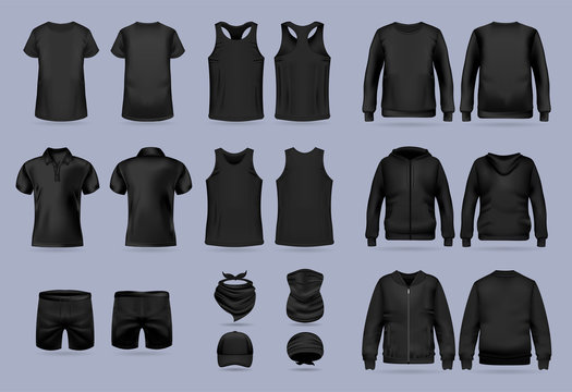 Blank black collection of men's clothing templates. T-shirt, hoodie, sweatshirt, short sleeve polo shirt, jacket bomber, head bandanas and cap, tank top, neck scarf and buff. Realistic vector mock up