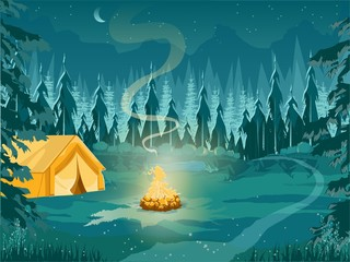 Zelfklevend Fotobehang Groen blauw Camping with Tent and Campfire at Night Forest