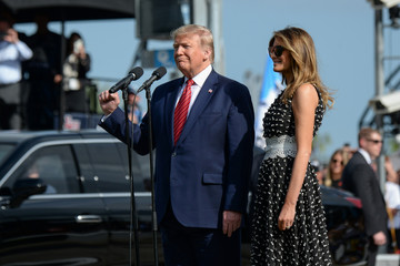 """U.S. President Donald Trump, as Grand Marshal, gives the """"Gentlemen, start your engines"""" command, to start the NASCAR Daytona 500"""