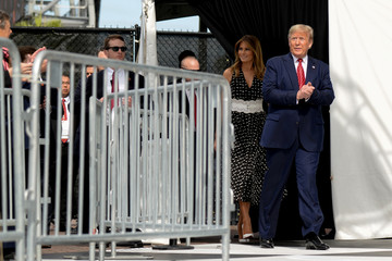 U.S. President Donald Trump and first lady Melania Trump arrive at the NASCAR Daytona 500